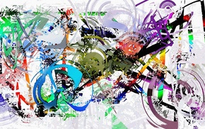 painting, white background, artwork, circle, lines, motorcycle