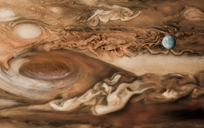 space, planet, Europa, digital art, brown, universe