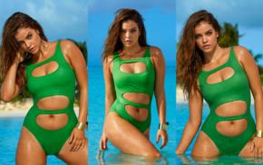 brunette, Barbara Palvin, girl outdoors, model, collage, Sports Illustrated