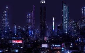 Japan, neon, city, cyberpunk