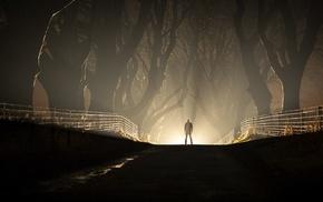 road, silhouette, dark, night, lights, men