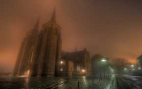 urban, night, mist, church, Roskilde, cobblestone