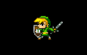 Link, video games, 8, bit, simple background, minimalism