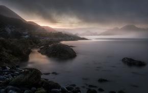 nature, mountains, Norway, coast, dark, sunset