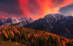 nature, clouds, landscape, fall, Alps, snowy peak