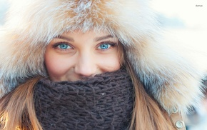 blue eyes, looking at viewer, fluffy hat, girl, scarf