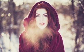 cold, girl, face, redhead, Little Red Riding Hood, girl outdoors