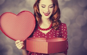 girl, polka dots, heart, redhead
