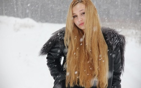 blonde, girl outdoors, snow, cold, long hair, girl