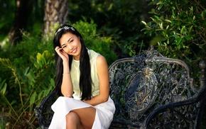 smiling, girl, Asian, girl outdoors, sitting, upskirt