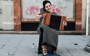 street music, musical instrument, girl, music