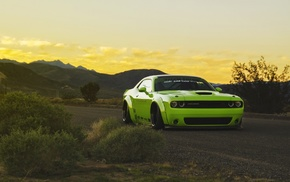 Dodge, Dodge Challenger, green cars, sunset, muscle cars