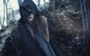 girl, hoods, magic, fantasy art, girl outdoors, model