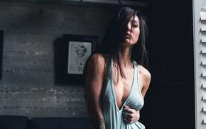 cleavage, Kristina Chai, Justin Swain, model, pierced nipples, brunette
