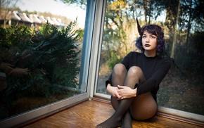 sitting, girl, cadeque, window, model