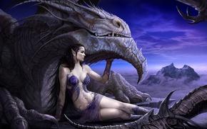 artwork, fantasy art, girl, dragon