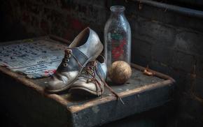 shoes, bottles, baseball, old