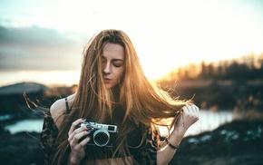 model, camera, girl, girl outdoors