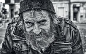 wrinkled face, monochrome, men, old people, portrait