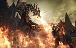 knight, sword, video games, artwork, fire, castle