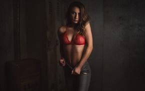 jeans, nipples through clothing, pants, girl, red bra, brunette