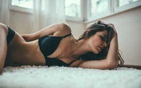 black bras, lying down, girl, brunette