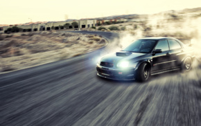Drifting, road, Subaru Impreza WRX STi, car, JDM, motion blur