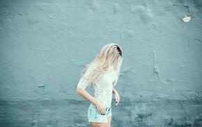 girl, blonde, jeans