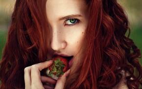 girl, redhead, looking at viewer, green eyes, strawberries, model