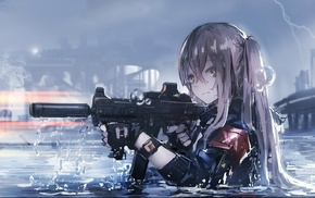 water, anime girls, weapon, gloves, HK UMP, anime