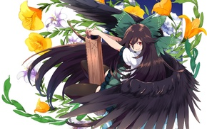 Reiuji Utsuho, anime, wings, anime girls, Touhou, weapon