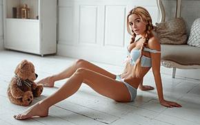 cleavage, girl, braids, lingerie, Ekaterina Zueva, model