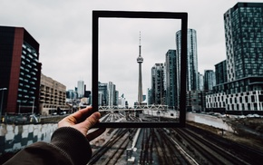 CN Tower, railway, building, Ontario, picture frames