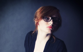 makeup, redhead, simple background, glasses, girl with glasses, girl