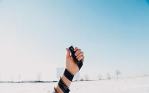 hands, tape