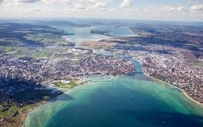 aerial view, Konstanz, lake, town, Lake Constance, city