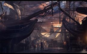renaissance, ports, harbor, medieval, sailing ship