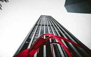 selective coloring, Los Angeles, building, skyscraper, worms eye view