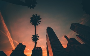 sunset, building, cityscape, palm trees