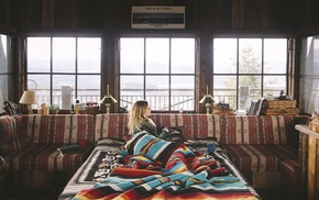colorful, cabin, blonde, blankets, interior, window