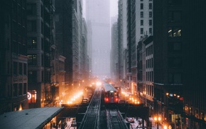 skyscraper, vignette, Chicago, railway, street light, street