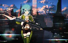 chromatic aberration, Sword Art Online, anime girls, Asada Shino, anime