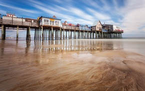 reflection, USA, sand, Old Orchard Beach, pier, low tide