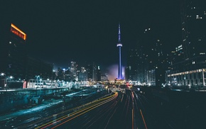 cityscape, light trails, railway, Toronto, night, long exposure