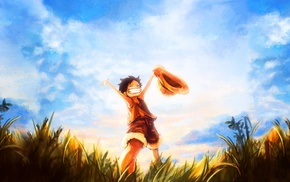 One Piece, anime, anime boys, Monkey D. Luffy, clouds