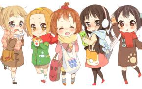 Kotobuki Tsumugi, anime girls, chibi, colorful, Tainaka Ritsu, Hirasawa Yui