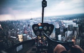 helicopters, birds eye view, New York City, cityscape, bokeh