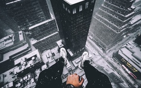 skyscraper, legs, rooftops, cityscape, rooftopping, snow