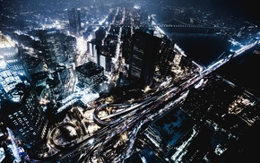 city lights, New York City, cityscape, night, skyscraper, Shanghai