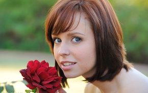 face, redhead, girl, FTV Girls Magazine, flowers, open mouth